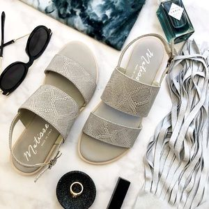Gray Leather Snake Embossed Double Strap Sandals